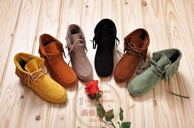 Ladies' Leather Suede Tassel Lace Up Assorted Color Oxford Flat Heel Low Boots Casual Shoes Size US 5-9(SH928)