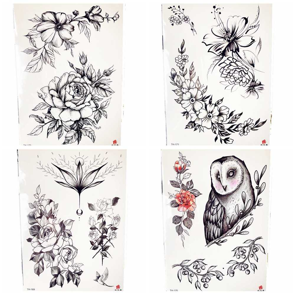Pencil sketch black flower temporary tattoo body art drawing sexy women summer style chest tattoo sticker cherry girl tatoos