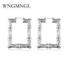 WNGMNGL New Design Women Hoop Earrings Large Gold Silver Color Metal Big Earring Bamboo Party Jewelry