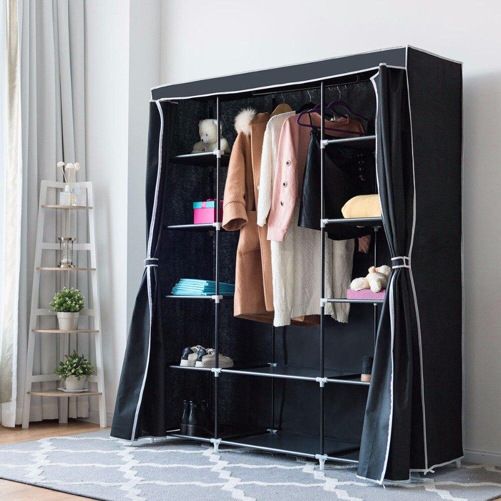 Giantex Портативный Одежда гардероб нетканые Ткань шкаф для хранения Организатор черный 60 ''Мебель для дома hw57333bk