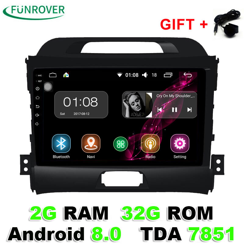 Funrover 9 inch 2 din android 8.0 car dvd for kia sportage 2014 2011 2009 2010 2013 2015 car radio stereo multimedia player rds