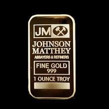 50 pcs Non magnetic The Johnson Matthey JM bullion bar 1 OZ 24K real gold plated ingot badge 50 mm x 28 mm home decoration coin