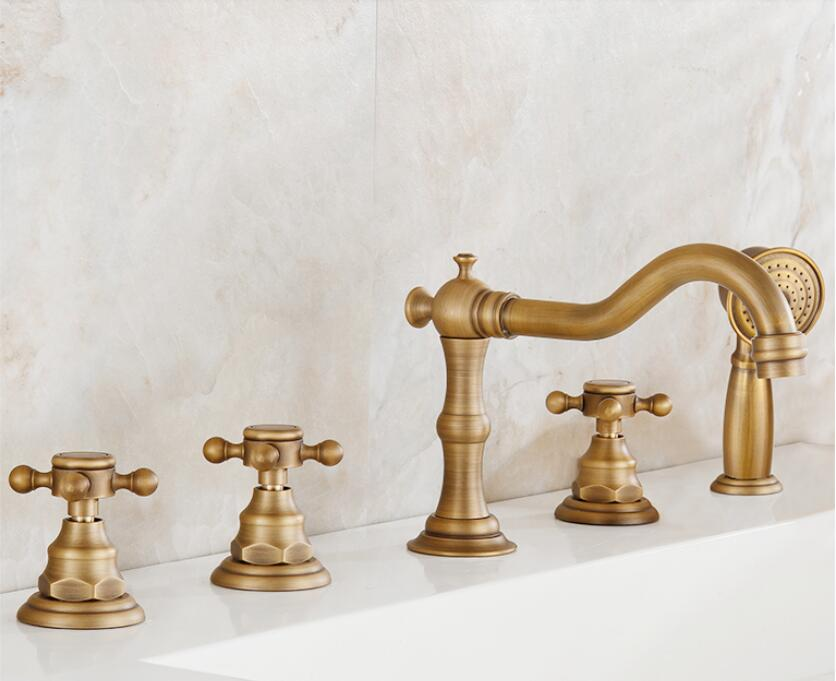 Antique Brass Finished Deck Mounted Bathroom Sink Faucet Widespread Waterfall Spout Mixer Tap newly solid brass bathroom widespread waterfall basin sink faucet chrome finished mixer tap one handle one hole deck mounted