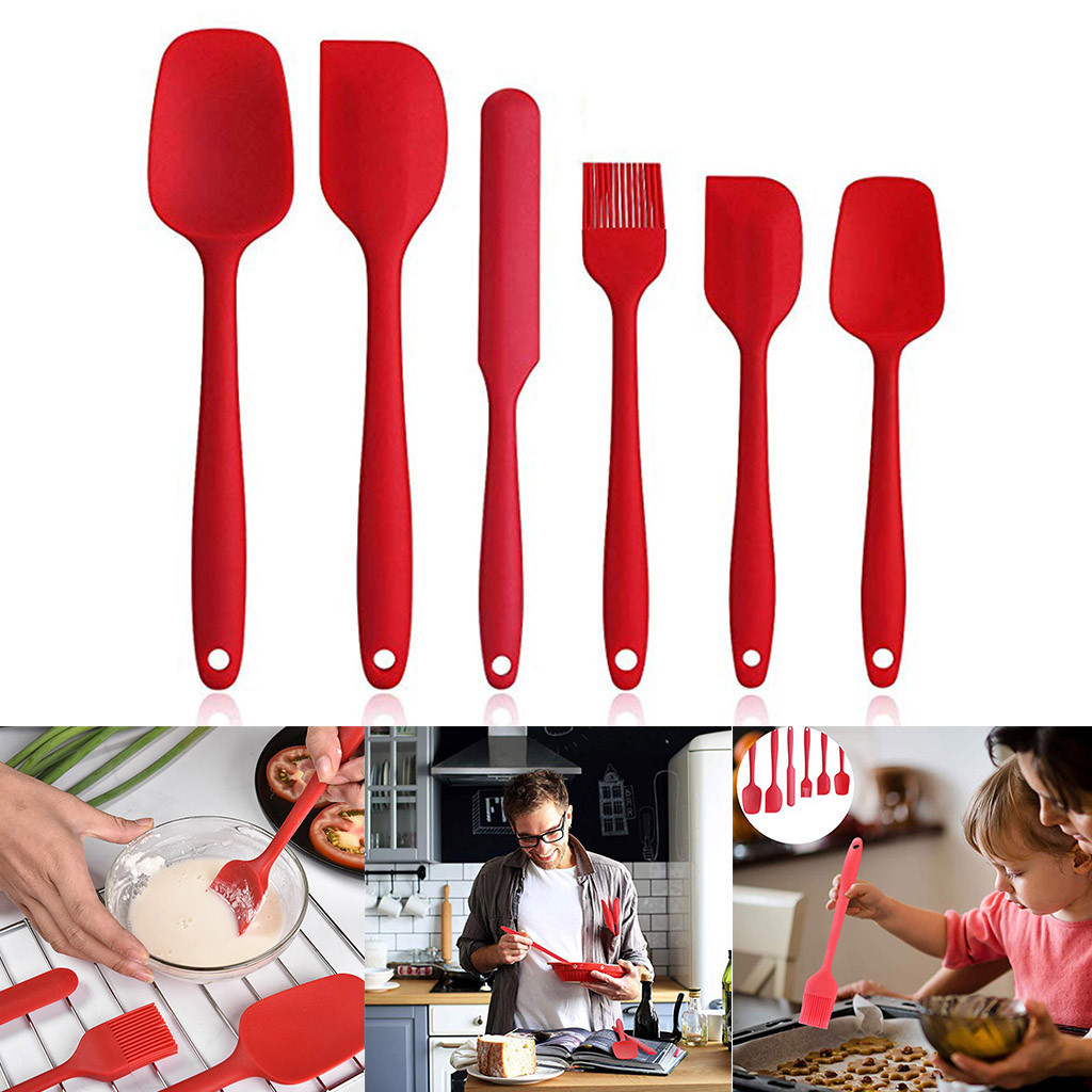 Set Spatula Silicone Spoon Shovel Scoop Nonstick Scraper Cream Smoother Cake Tools Bakeware Cooking Gadgets Kitchen Accessories