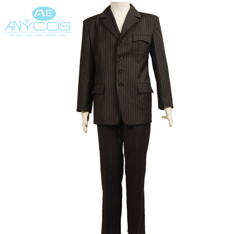 Who is Doctor Dr Brown Pinstripe Wool Suit Coat Jacket Pants Halloween Cosplay Costume For Men Custom Made