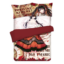 Anime Date A Live Nightmare Tokisaki Kurumi Otaku Bedding Linen Set Bed Sheet or Duvet Cover with Two Pillow cases