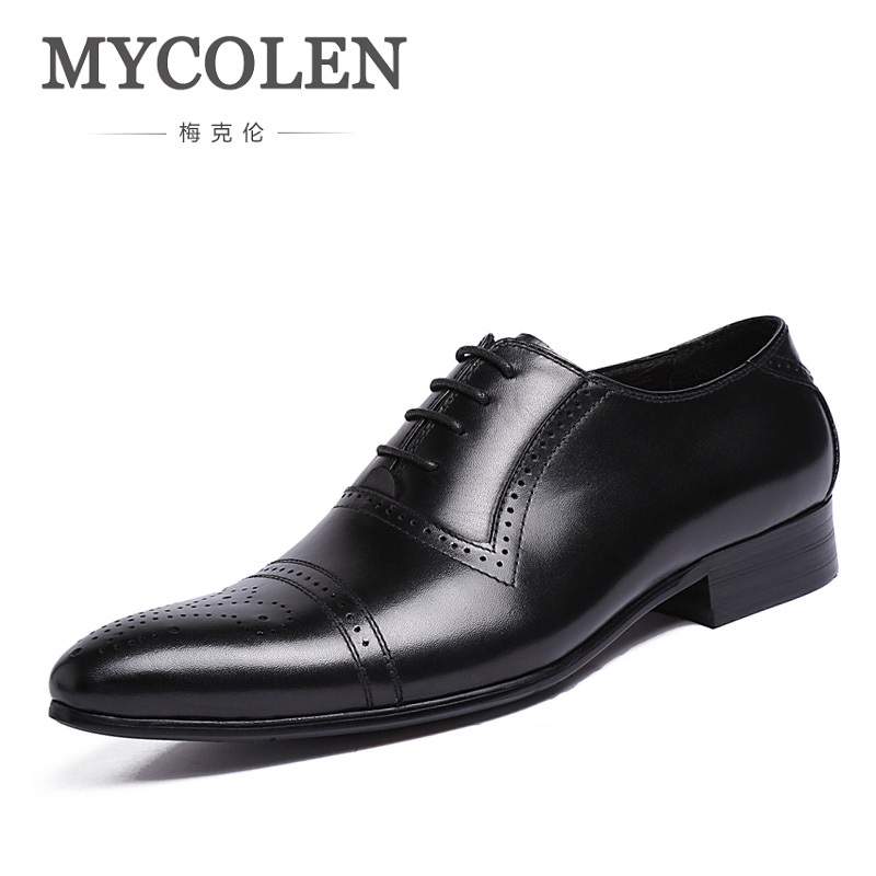 MYCOLEN Italian Designer Genuine Leather Men Oxford Dress Shoes Male Party Wedding Office Black Wine Red Brogue In Flats hot sale italian style men s flats shoes luxury brand business dress crocodile embossed genuine leather wedding oxford shoes