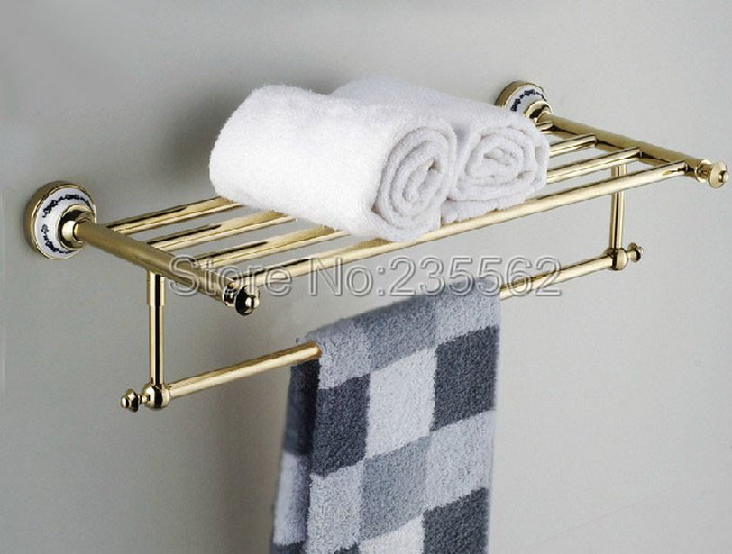 Gold Color Polished Brass Porcelain Base Wall Mounted Bathroom Towel Rail Holder Storage Rack Shelf Bar lba256 ...