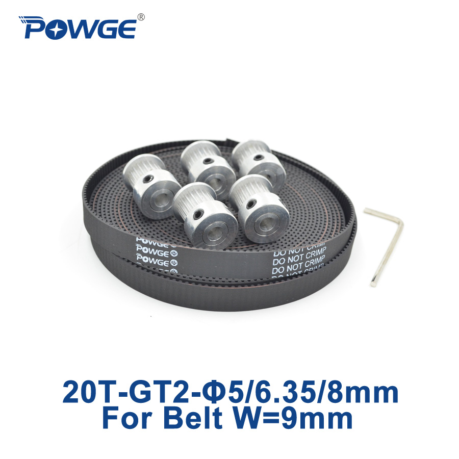 POWGE 5pcs 20 teeth GT2 Timing Pulley Bore 5mm 6.35mm 8mm + 5Meters width 9mm GT2 timing Belt used in linear drive 20Teeth 20T цена 2017