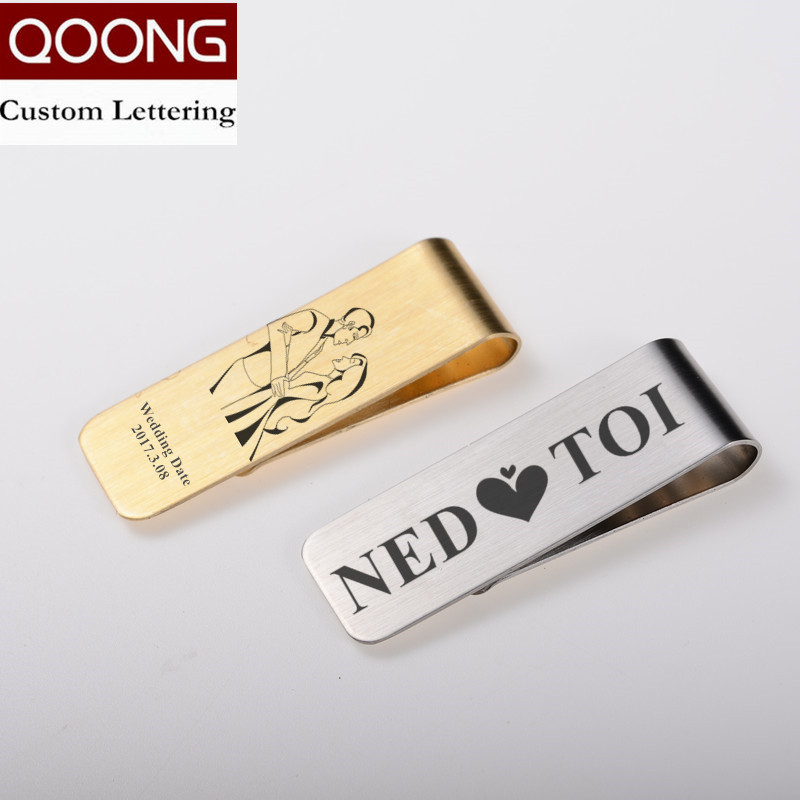 QOONG Pure Brass Couple Money Clip Wallet Slim Pocket Cash ID Credit Card Money Holder Stainless Steel Bill Clip Clamp QZ40-003