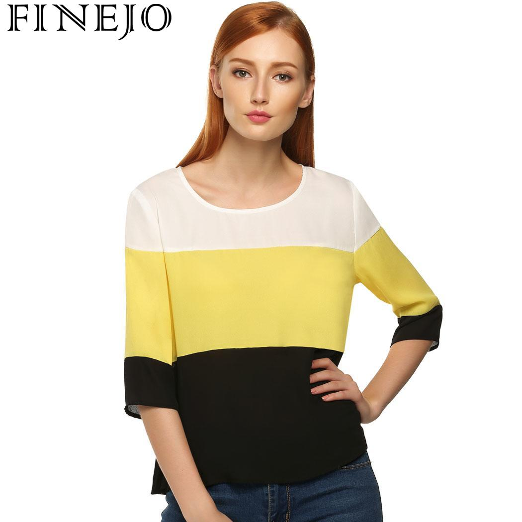 FINEJO T-shirts Women Stylish Round Patchwork Sleeve Finejo Neck Medium Casual Tops