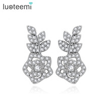 LUOTEEMI New Fashion Stud Earrings Hot Sale Classic White Gold Plated Rose Flower Earring For Women