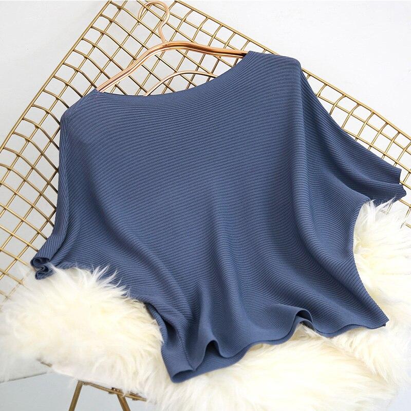 2018 Herbst Neue Frauen Gestrickte Pullover Solide Lose Blau Weibliche Dame Slash Neck Pullover Tops