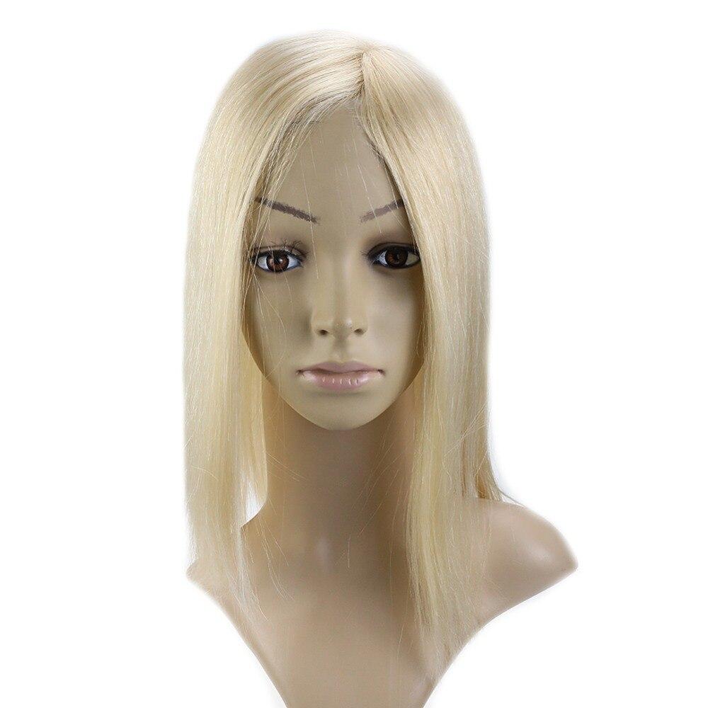 Voller Glanz 6,5*3 Zoll Remy Menschenhaar Clip In Haar Crown Extensions Gerade Unsichtbare Haarteil Mono Haar Topper #613 Blonde Haarteile