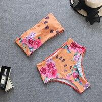 Vestido de baño bikini strapless arcoiris rayas 3