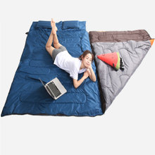2017 Hot Couple sleeping bag Portable Widening warm wedding Dense outdoor camping indoor midday double sleeping bag free deliver