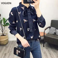 VOGUE!N New Womens Navy Bird Print Long Sleeve Button Down Shirt Blouse Tops with Tie Wholesale Size SML