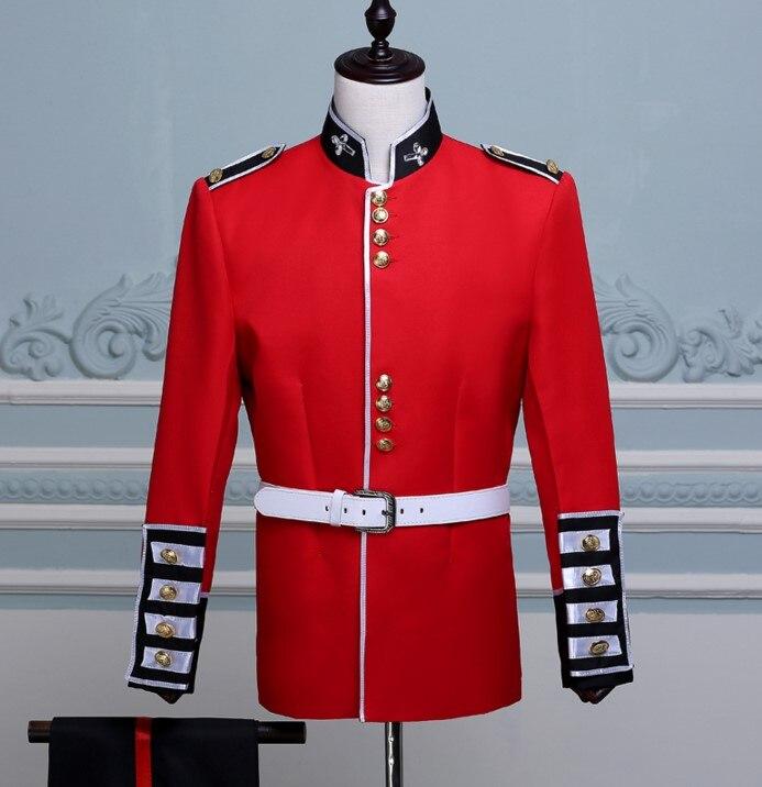 Angleterre Style hommes cristaux rouge Costume Court militaire Costume tambour Corps orchestre Performance scène tenues chanteur Chorus costumes