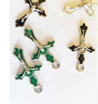 Emaye Katolik İsa Çapraz Dangle Haç Takılar Kolye Vintage Gümüş Takı Yapımı Için El Sanatları Bilezikler Aksesuarları Hediyeler