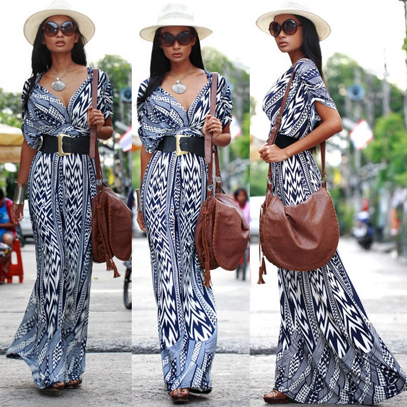 Long Maxi Ladies V Neck 2016 New UK Womens Lady Dress Sexy Boho Fashion Clothing Summer Women Beach Party Sun