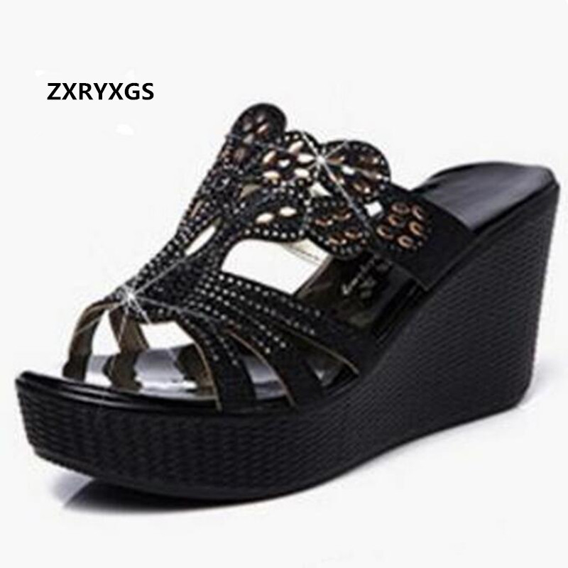 2019 New Rhinestone Summer Elegant Fashion Sandals Women Slippers Genuine Leather Shoes Platform Wedges High Heeled