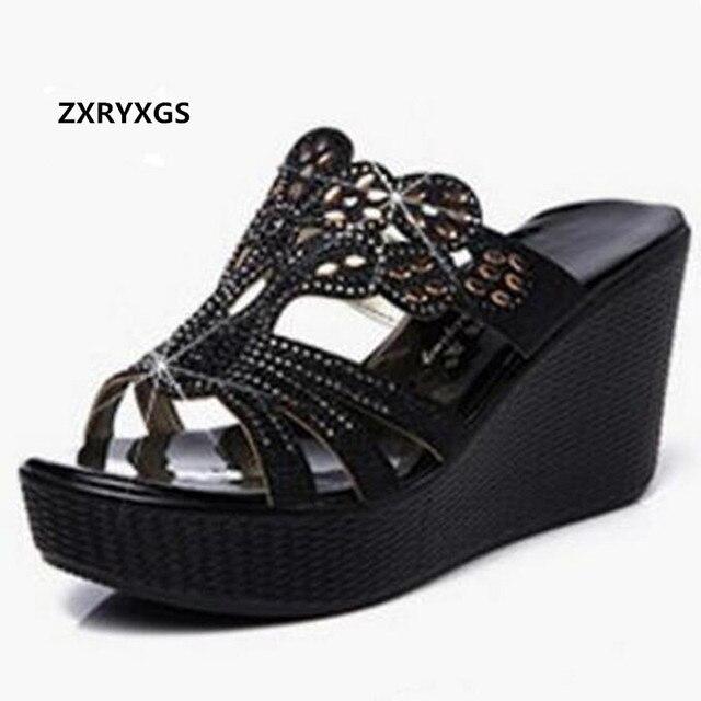 efca128051e 2019 New Rhinestone Summer Elegant Fashion Sandals Women Slippers Genuine  Leather Shoes Platform Wedges High Heeled Sandals