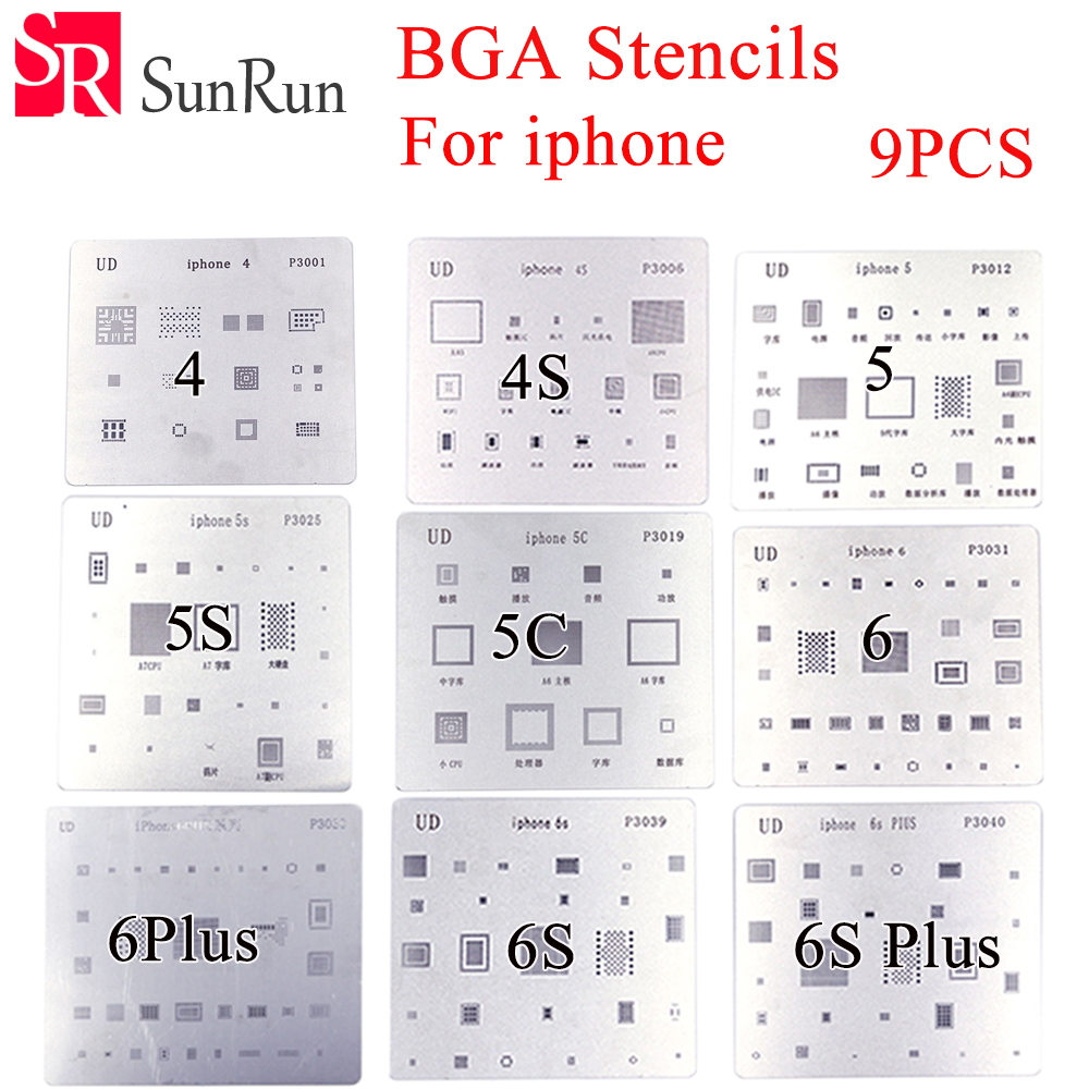 High quality 9pcs/lot ! high quality full set BGA Reballing Stencil dedicate kit for iPhone 4 4s 5 5s 5c 6 6+ 6S 6s+ автомобиль iphone 6 plus iphone 6 iphone 5s iphone 5 iphone 5c универсальный iphone 4 4s мобильный телефон iphone 3g 3gs держатель