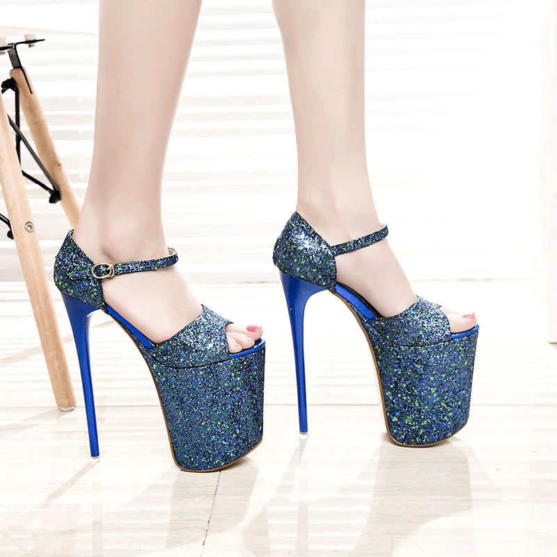 Womens summer style sexy wedding bridal prom royal blue peep toe on the platform 20 cm extreme thin high heels sandals pumps F45 cdts 35 45 46 summer zapatos mujer peep toe sandals 15cm thin high heels flowers crystal platform sexy woman shoes wedding pumps