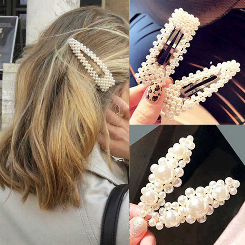 2019 Fashion handmade Gold Color Pearl Imitation Hair Clip Snap Barrette Stick Hairpin Hair Styling Accessories For Women Girls