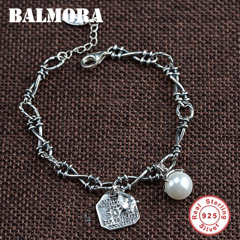 BALMORA Solid 925 Sterling Silver Letter Imitation Pearls Bracelet For Women Party Thai Silver Fashion Vintage Jewelry WBH0224