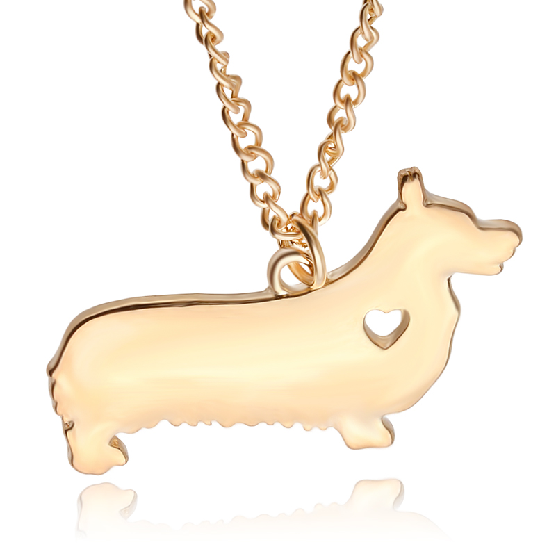 Pet Lovers Dog Rescue creative animal necklace small Corgi dog pet pendant necklaces Choker for women