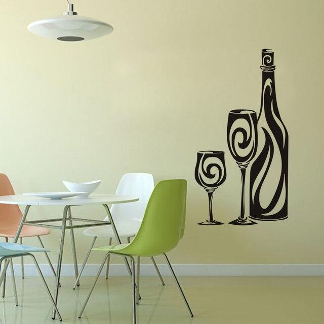 Weinflasche Und Gläser Wandaufkleber Dekorative Vinyl Aufkleber Bar Küche  Wandtattoos Removable Home Dekoration Zubehör