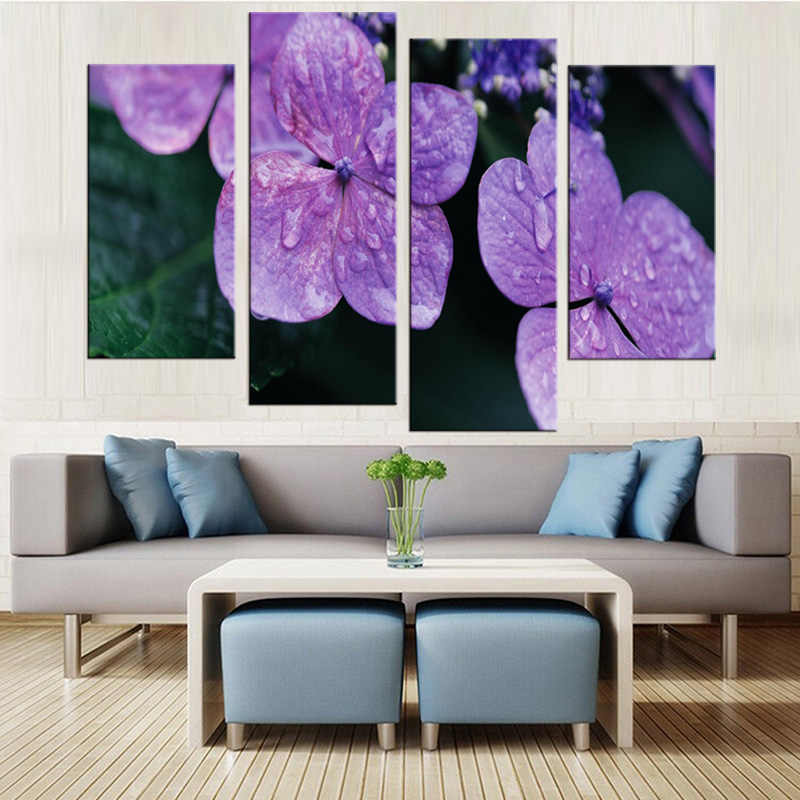 4Pcs/Set Poster Canvas Wall Art Flower Oil Paintings Pop Print Wall Pictures For Living Room Home Decoration  Frame