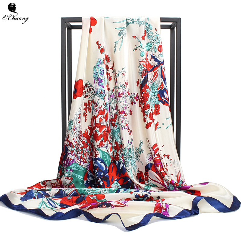 O CHUANG Women Silk   Scarf   Flowers Printe brand foulard soie Spring Summer Shawl Square Head   Scarves     Wraps   90x90cm