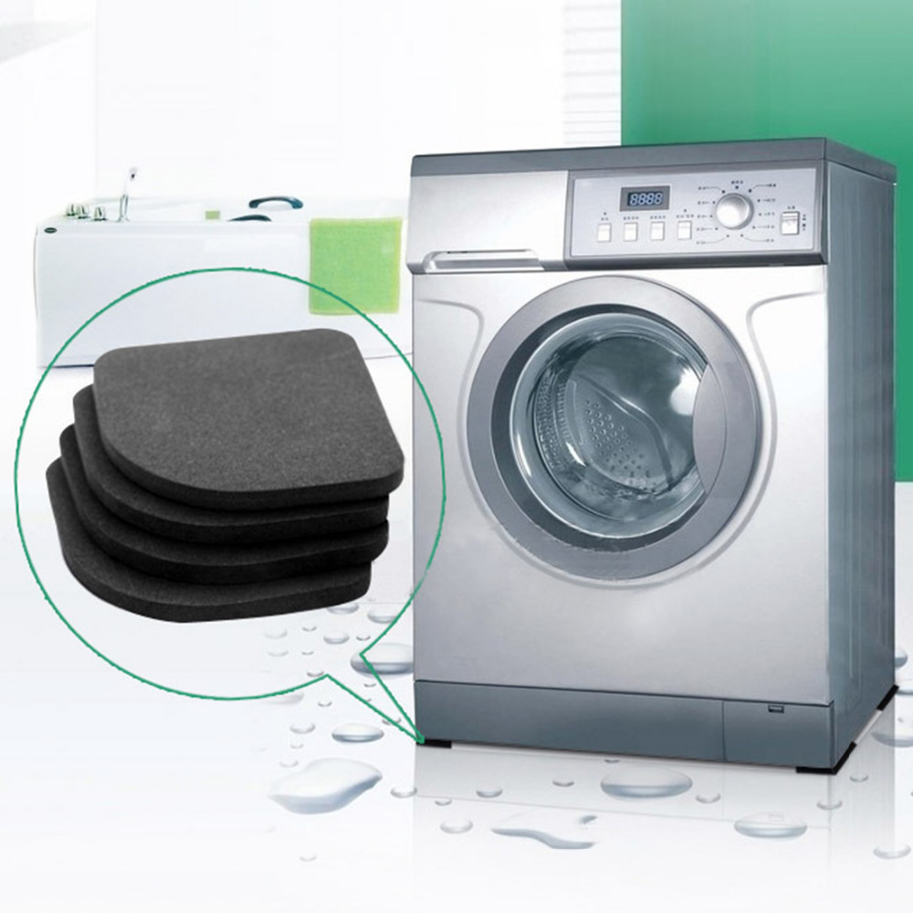 Brilliant Black Multifunction Washing Machine Shock Mute Pads Refrigerator Non-slip Anti-vibration Mats 4pcs/set Bathroom Accessories Good For Energy And The Spleen Sets