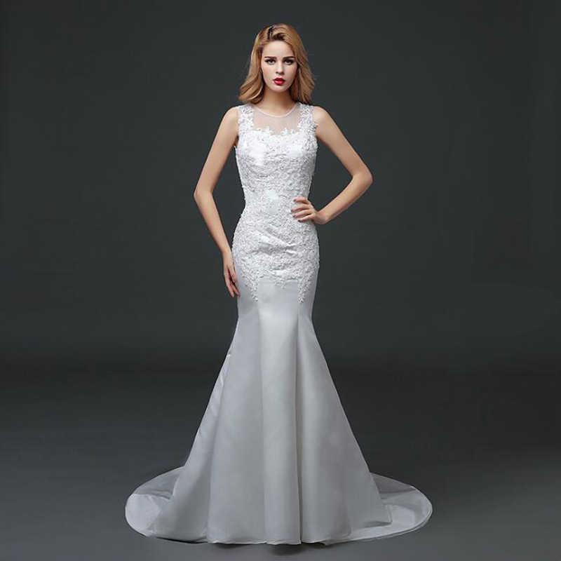 מכירה לוהטת סקסי טול O צוואר חרוזים בת ים חתונת שמלות 2018 זול כלה שמלת Vestidos דה Noivas עם תחרה עד אשליה בחזרה