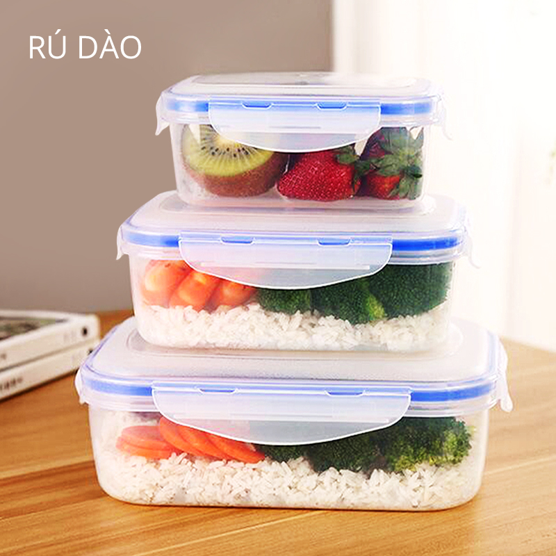 4 Pc Food Storage Container Transparent Plastic Storage Box Vented Lid Microwave