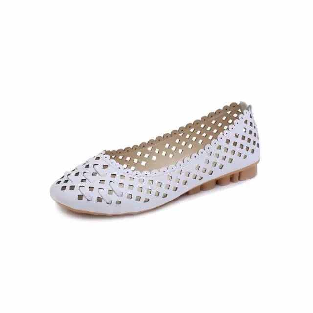 Zomer Stijl Vrouwen Ballet Flats Ronde Neus Slip op Schoenen Cut-outs Flats Schoenen Wit Vrouw Loafers Zapatos Mujer