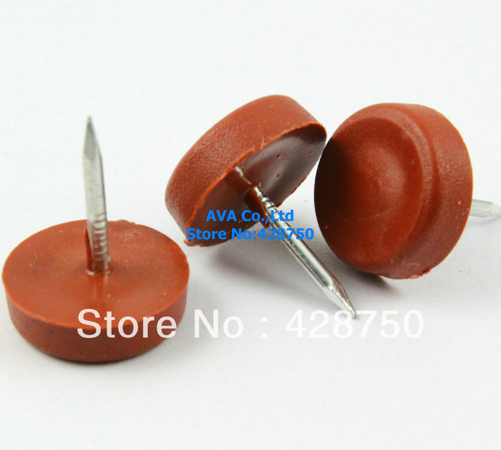 16mm nylon furniture chair nail feet glides feet bottom protect brown - Chair Glides
