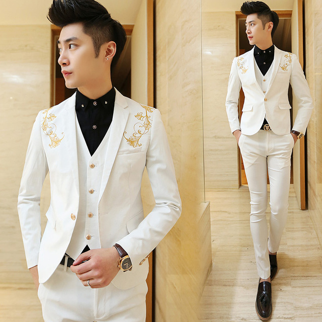 Latest Design White Mens Suits Groom Stylish Golden Embroidery