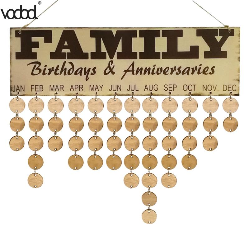 DIY Wooden Calendar Family Birthday Anniversary Wall Calendar Sign Special Dates Planner Board Home Hanging Decor Gifts diy fashion wooden birthday calendar family friends sign special dates planner board hanging decor gift decorate your home