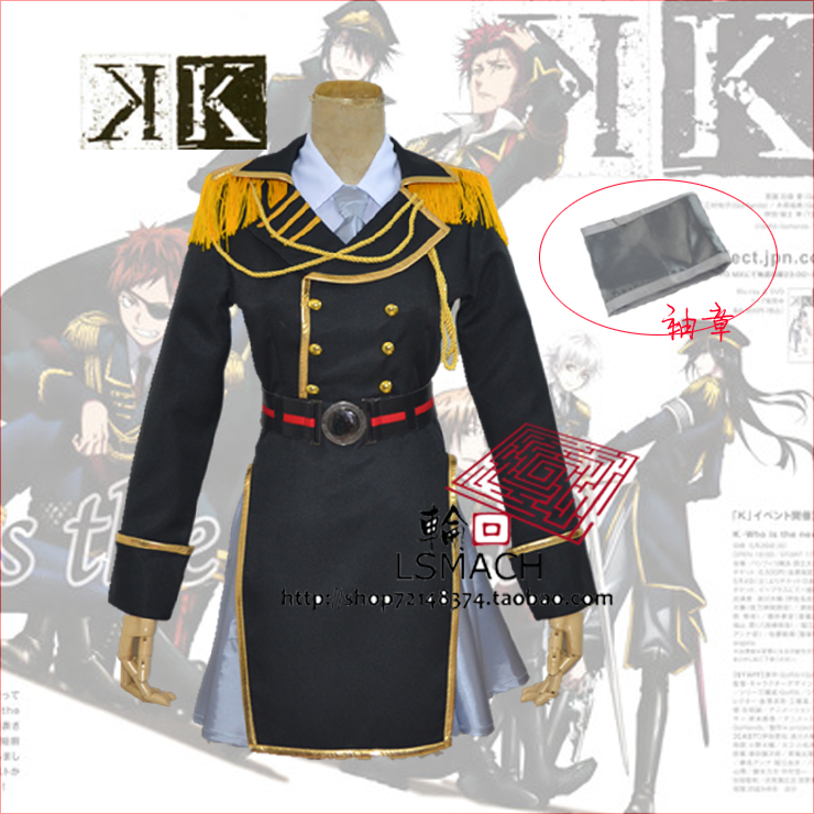 Free shipping K Project Neko Spoon Military Uniform Cosplay Costume