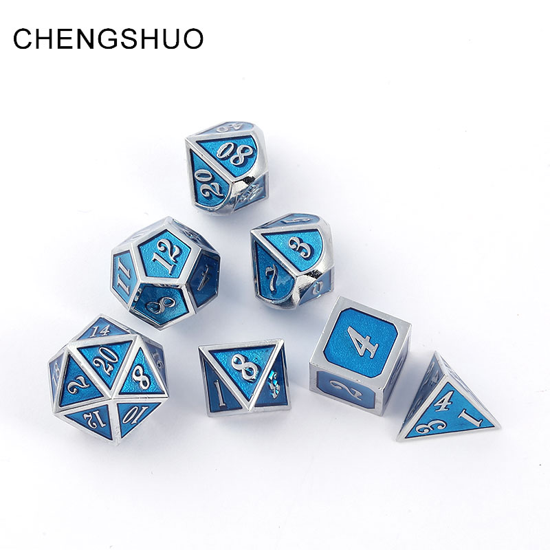 Chengshuo dnd dice metal rpg set polyhedral dungeons dragon d20 10 8 12 blue table game Zinc alloy silvery digital dice pattern
