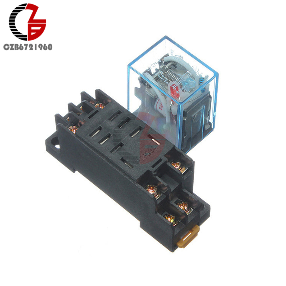 Power Relay LY2NJ Socket Base 220V AC Coil Miniature Relay DPDT 8 Pins 10A 240VAC LY2 HH62P LY2 JQX-13F With PTF08A 10 sets free shipping ly4nj hh64p dc12v 14pin 10a power relay coil 4pdt with ptf14a socket base