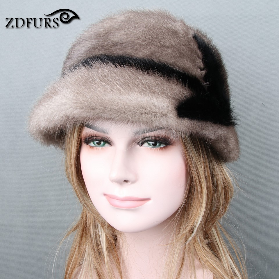 Glaforny 2017 New Genuine Mink Fur Hats Imported whole mink fur hat luxury female high-end cap natural fur hats lady's winter cx c 60 genuine mink fur hat snood drop shipping