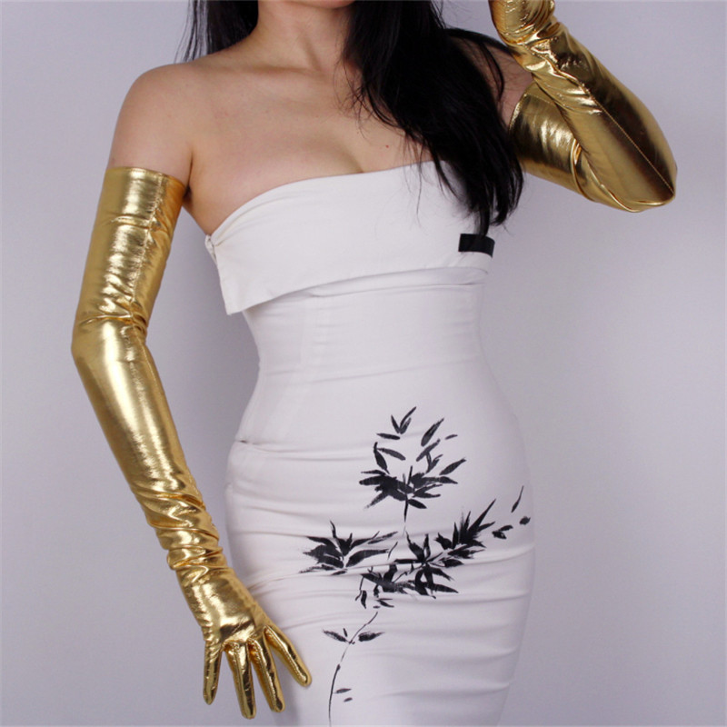 Patent Leather Extra Long Gloves 70cm Long Emulation Leather Elastic PU Leather Mirror Bright Leather Bright Gold Female WPU17