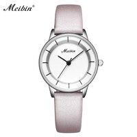 MEIBIN Alta Qualidade Relógio de Quartzo de Couro Marca De Luxo Mulheres Relógios Simples Estilo Retro Das Senhoras relógio de Pulso Relógio Feminino
