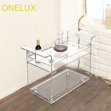 KD Packed Lucite Wine Bar Cart On Wheels,Acrylic Liquid Serving Trolleys With Casters,Perspex Wine Bottle Rack ONE LUX(China)