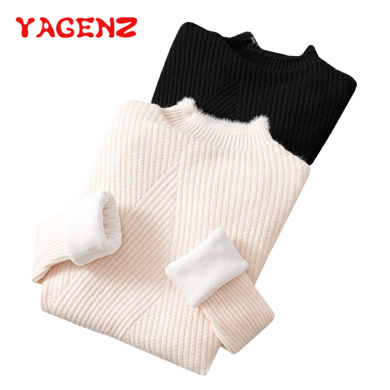 YAGENZ Autumn Winter Plus velvet Turtleneck Pullover Sweater Women Slim Stand collar Warm Knitted Sweaters Bottoming Shirt 221