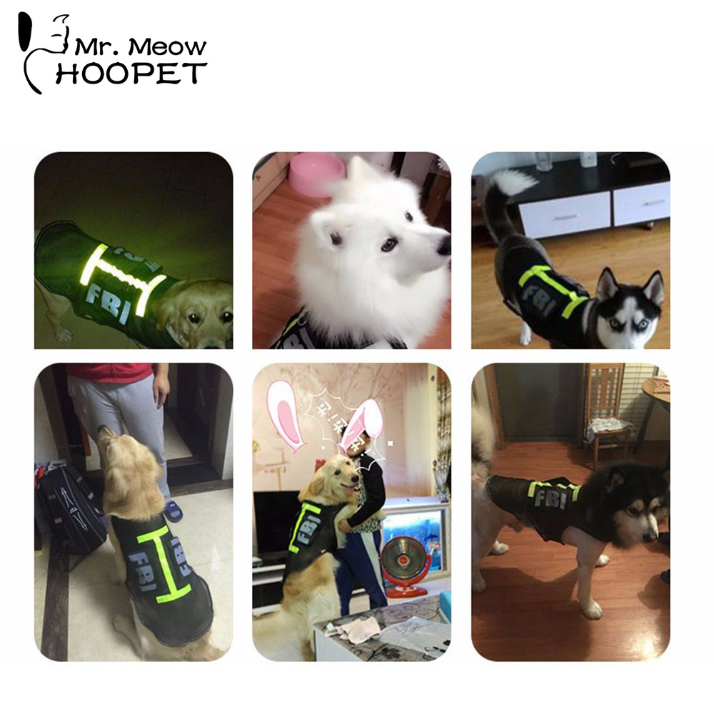 Handsome FBI Pet Costume for Large Dogs Breathable Mesh Police Dog Vest T Shirt Clothes with Green & Silver Reflective Stripes